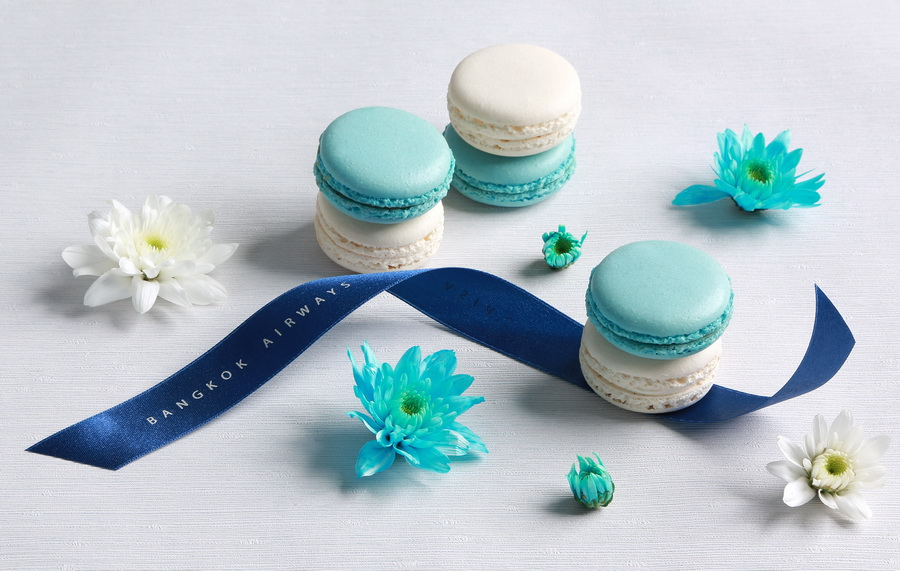 Bangkok Airways Celebrates the Songkran Festival with a special in-flight dessert menu Blue and White Macaron.jpg